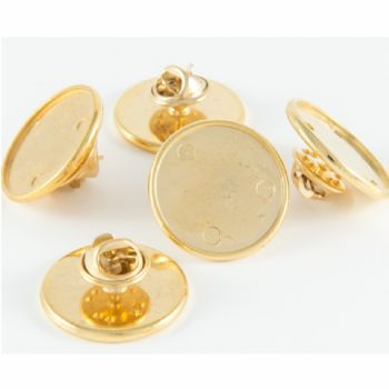 Premium Badge Blank round 21mm gold clutch fitting